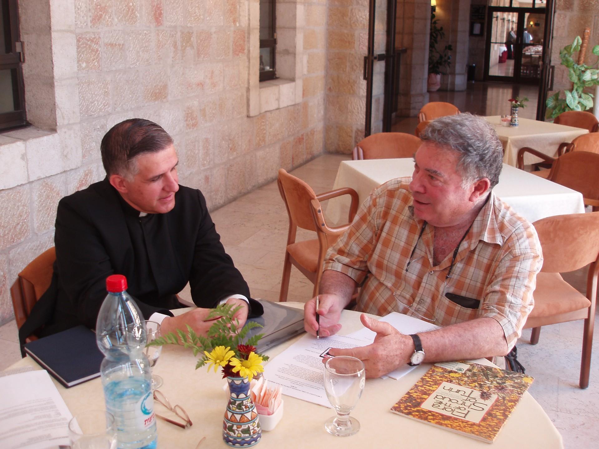 Father Hector Guerra and Botanist Avinoam Danin in The Notre Dame Center
