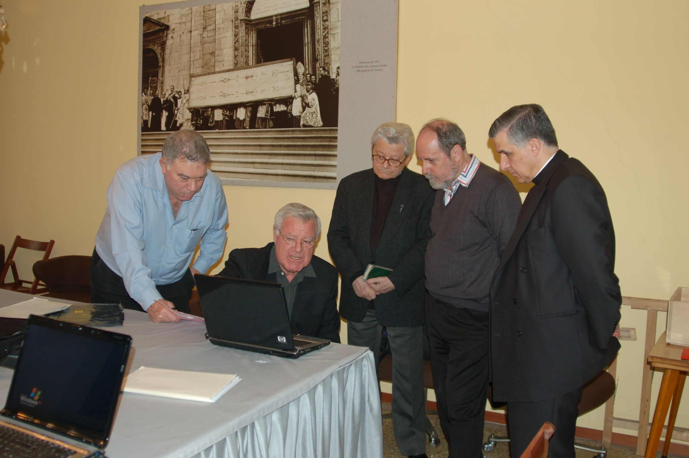 Photo 5. Visit Turin Danin, Dr. Soons, Don Ghiberti, Bruno Barberis and Father Guerra