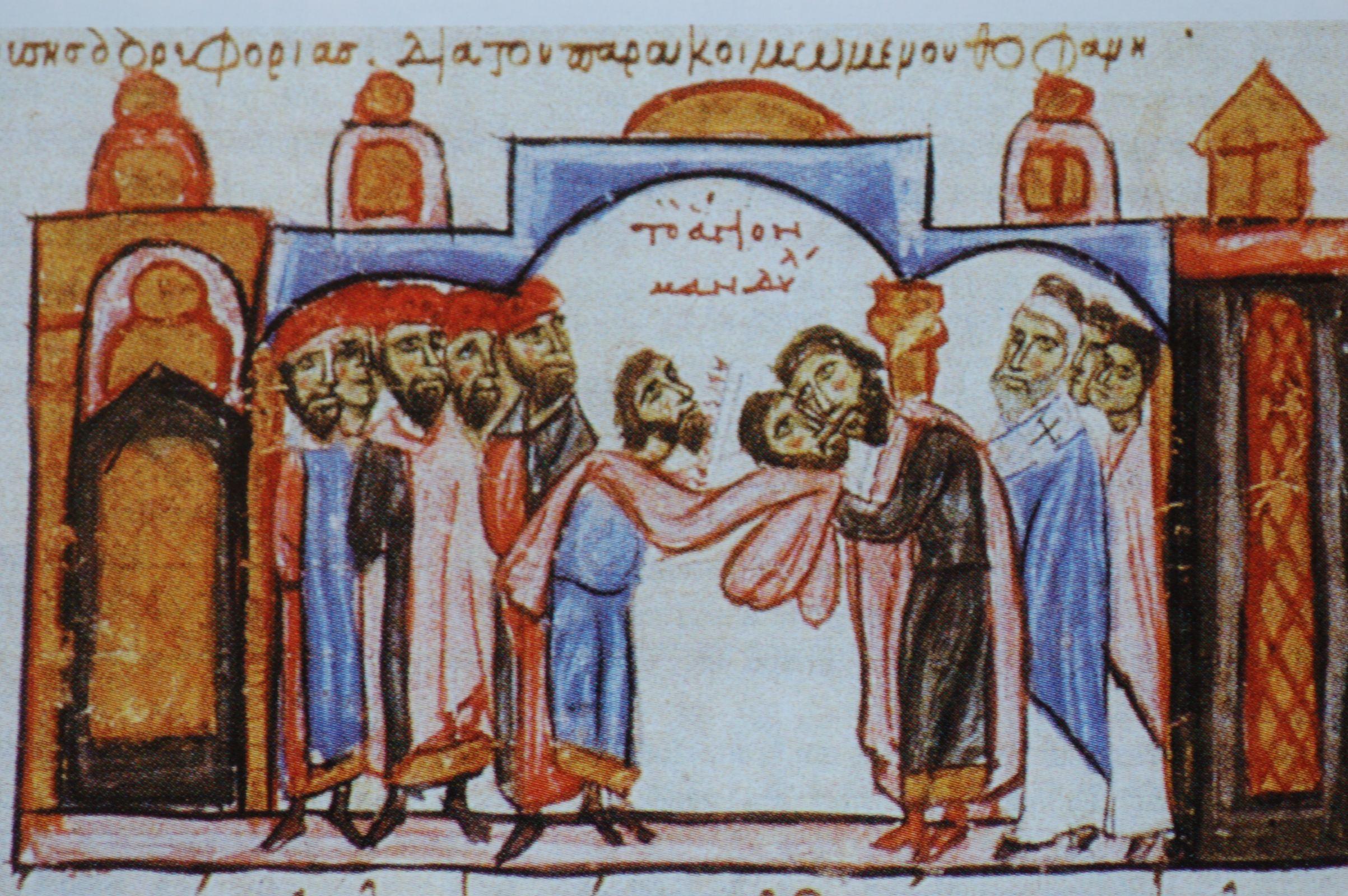 Photo 3. Constantinople Emperor receives mandylion of Edessa 944 AD