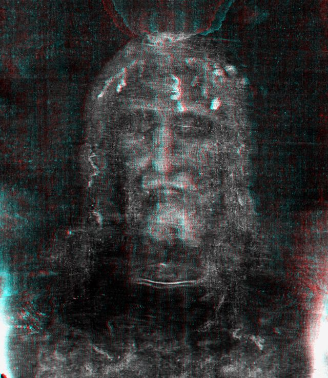 Photo 6. Anaglyph photograph face with coins. USE 3D GLASSES